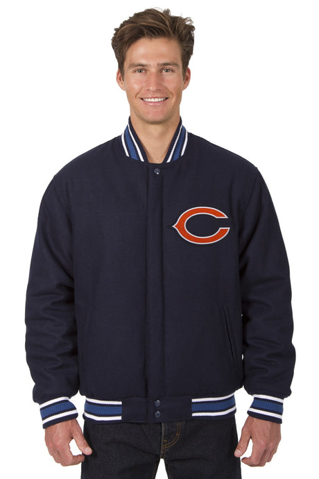 Chicago Bears NFL Wool Reversible Jacket Featuring Front & Back Logos