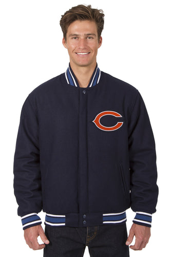 Chicago Bears NFL Wool Reversible Jacket Featuring a Front Chest Logo Only