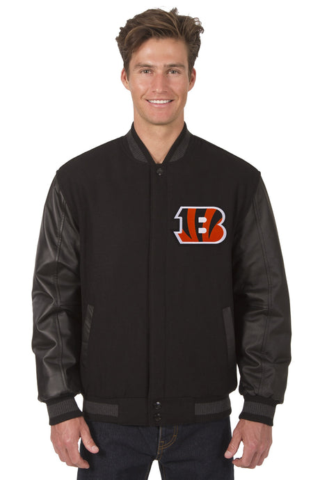 Cincinnati Bengals NFL Wool & Leather Reversible Jacket Featuring Front & Back Logos