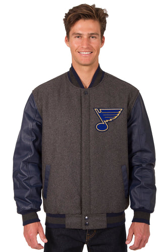 St. Louis Blues Charcoal Wool & Leather Reversible Jacket Featuring Front & Back Logos