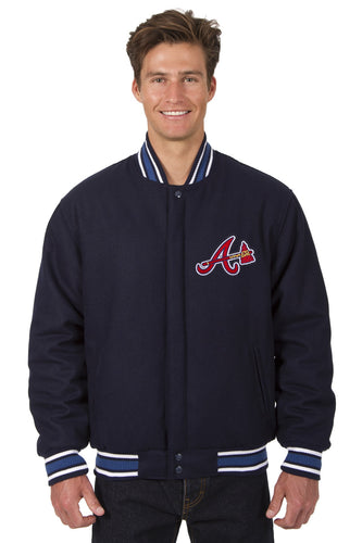 Atlanta Braves MLB Wool Reversible Jacket Featuring a Front Chest Logo Only