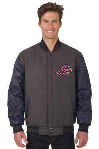 Atlanta Braves MLB Wool & Leather Reversible Jacket Featuring Front Logo