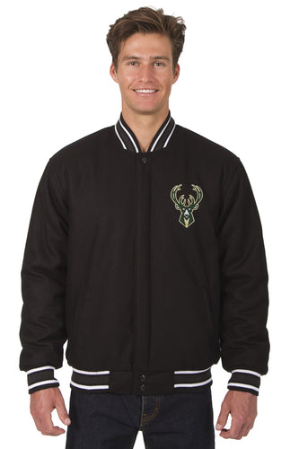 Milwaukee Bucks Wool Reversible Jacket Featuring a Front Chest Logo Only