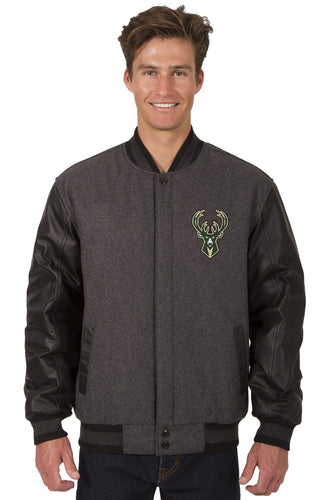 Milwaukee Bucks Wool & Leather Reversible Jacket Featuring Front Logo
