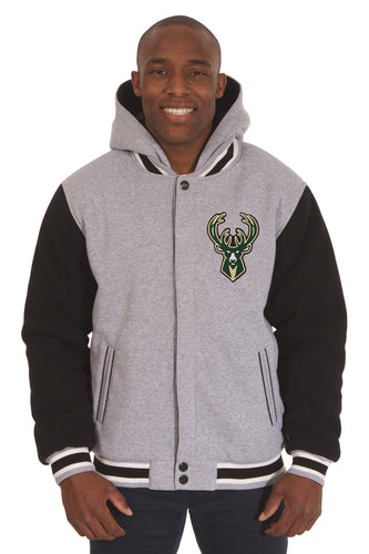 Milwaukee Bucks NBA Mens Reversible Fleece Hoodie Jacket
