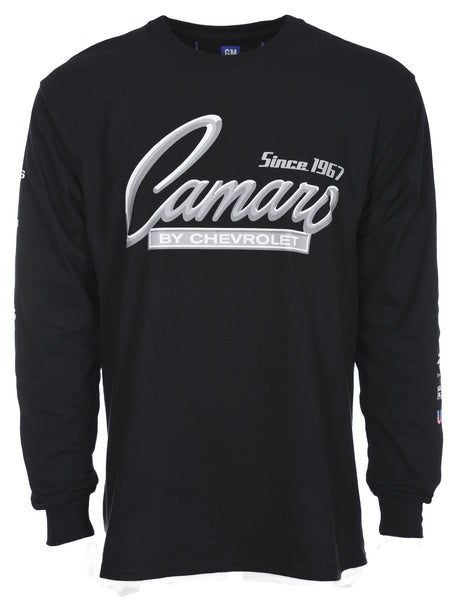 Men's Chevy Camaro Long Sleeve Crew Neck T-Shirt Front Back & Sleeve Emblems