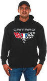 JH Design Group Men's Chevy Camaro V-Flag Emblem Pullover Hoodie Sweatshirt
