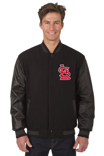 St. Louis Cardinals MLB Black Wool & Leather Reversible Jacket Featuring Front Logo
