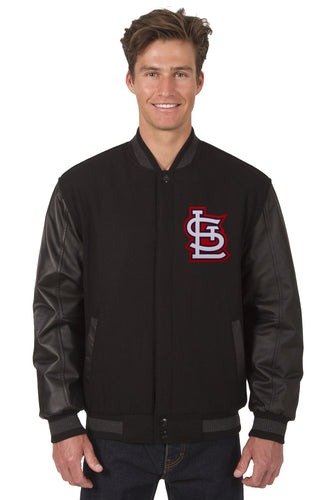 St. Louis Cardinals Black Wool & Leather Reversible Jacket Featuring Front & Back Logos