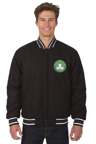 Boston Celtics Wool Reversible Jacket Featuring a Front Chest Logo Only