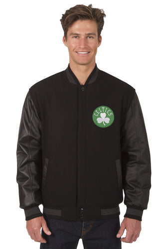 Boston Celtics NBA Black Wool & Leather Reversible Jacket Featuring Front & Back Logos