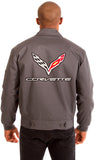 Chevy Corvette Men's Mechanics Jacket Front & Back Emblems-Mechanics Jacket-JH Design-Medium-Black-AFC