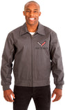 Chevy Corvette Men's Mechanics Jacket Front & Back Emblems-Mechanics Jacket-JH Design-Medium-Charcoal-AFC