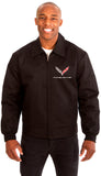 Chevy Corvette Men's Mechanics Jacket Front Chest Emblem-Mechanics Jacket-JH Design-Medium-Black-AFC