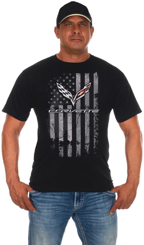 Men's Chevy Corvette Black T-Shirt Distressed American Flag