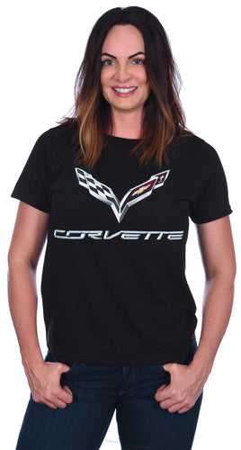 Women's Chevy Corvette C7 Emblem T-Shirt in Black, Red, or Heather-Gray