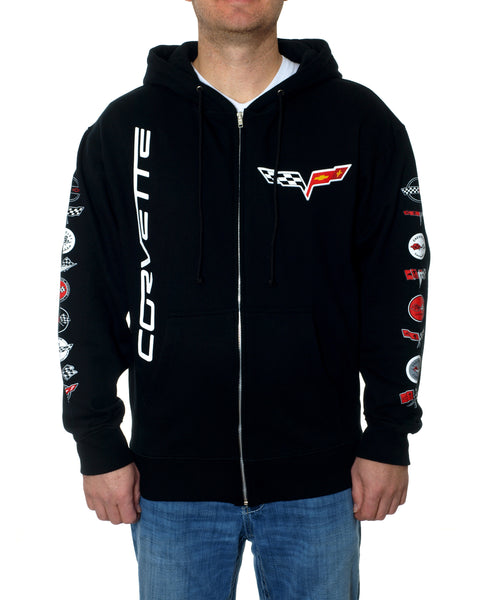 Men's Chevy Corvette Collage Hoodies-Hoodie-JH Design-Small-Black-AFC
