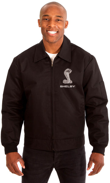 Carroll Shelby Men's Mechanics Jacket with Front Chest Emblem-Mechanics Jacket-JH Design-Medium-Black-AFC