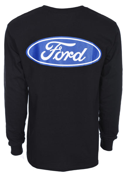 Men's Ford Performance Long Sleeve Crew Neck T-Shirt Front Back & Sleeve Emblems