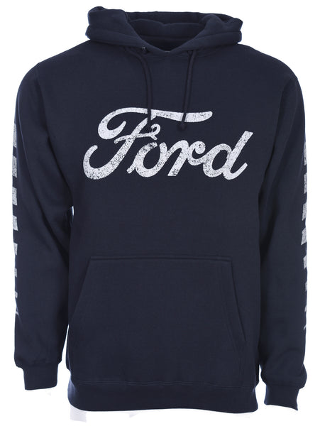 Men's Distressed Ford Logo Pullover Navy Blue Hoodie