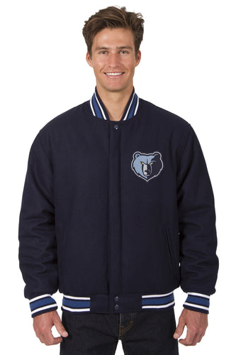 Memphis Grizzlies Wool Reversible Jacket Featuring a Front Chest Logo Only