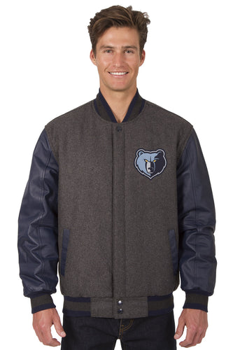 Memphis Grizzlies NBA Wool & Leather Reversible Jacket Featuring Front & Back Logos