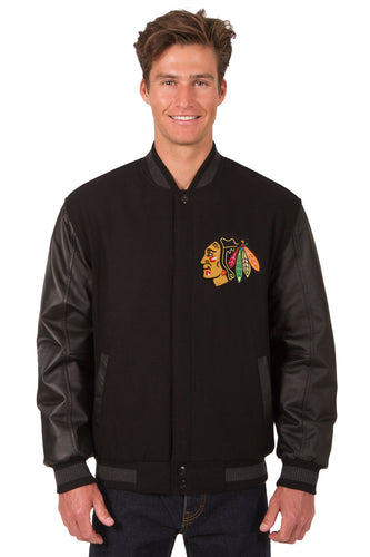 Chicago BlackHawks Wool & Leather Reversible Jacket Featuring Front & Back Logos