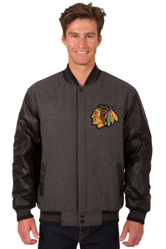 Chicago BlackHawks Charcoal Wool & Leather Reversible Jacket Featuring Front & Back Logos