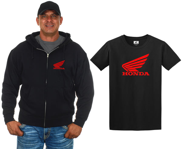 Honda Zip-up Hoodie & Honda T-Shirt Combo Gift Set Men