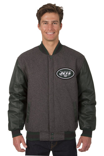 New York Jets NFL Wool & Leather Reversible Jacket Featuring Front & Back Logos