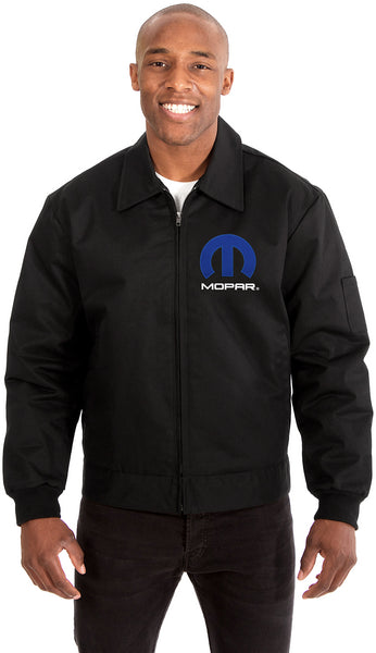 MOPAR Mens Mechanics Jacket with Front & Back Emblems-Mechanics Jacket-JH Design-Medium-Black-AFC