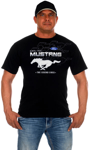 Ford Mustang Collage Logo T-Shirts-T-Shirt-JH Design-Small-Black-AFC