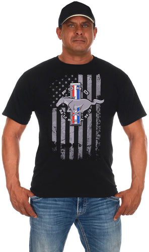 Men's Ford Mustang Black T-Shirt Distressed American Flag
