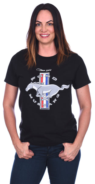 Women's Ford Mustang Classic Tri-Bar Pony Emblem T-Shirt in Black, Red, or Heather-Gray