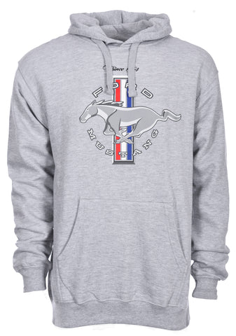 Men's Ford Mustang Classic Tri-Bar Pony Emblem Pullover Heather Gray Hoodie