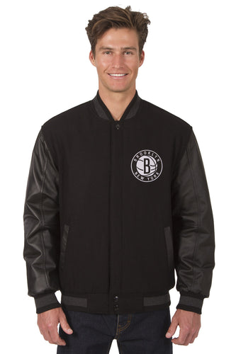 Brooklyn Nets Wool & Leather Reversible Jacket Featuring Front Logo