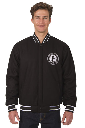 Brooklyn Nets Wool Reversible Jacket Featuring a Front Chest Logo Only