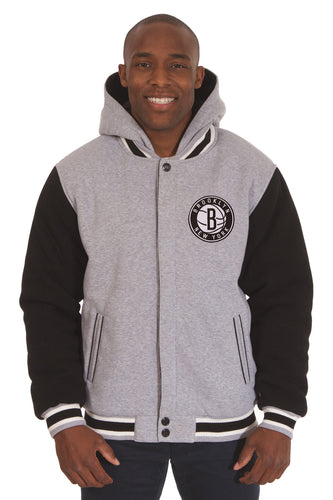 Brooklyn Nets NBA Mens Reversible Fleece Hoodie Jacket