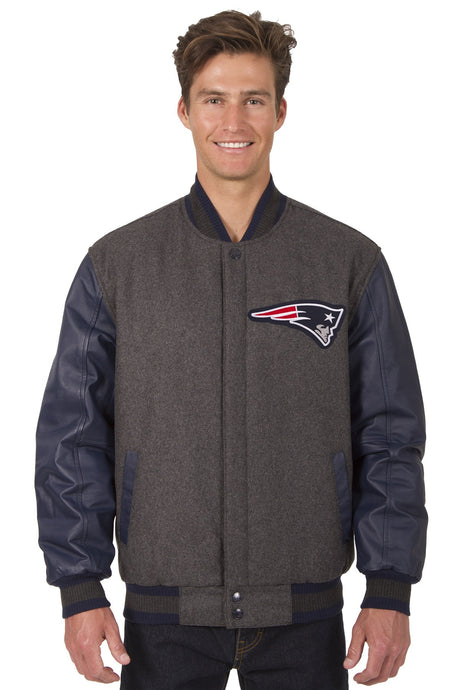 New England Patriots NFL Wool & Leather Reversible Jacket Featuring Front & Back Logos