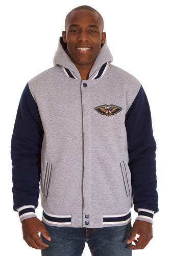 New Orleans Pelicans NBA Mens Reversible Fleece Hoodie Jacket