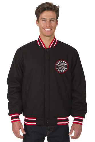 Toronto Raptors Black & Red Wool Reversible Jacket Featuring Front & Back Logos