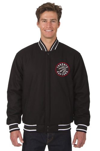 Toronto Raptors Black Wool Reversible Jacket Featuring a Front Chest Logo Only