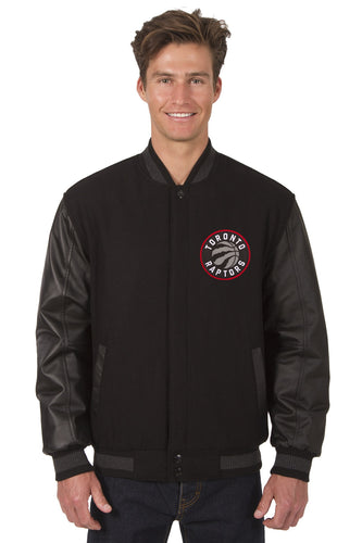 Toronto Raptors NBA Black Wool & Leather Reversible Jacket Featuring Front & Back Logos