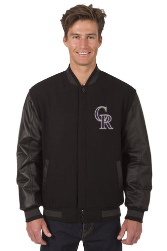 Colorado Rockies MLB Wool & Leather Reversible Jacket Featuring Front Logo