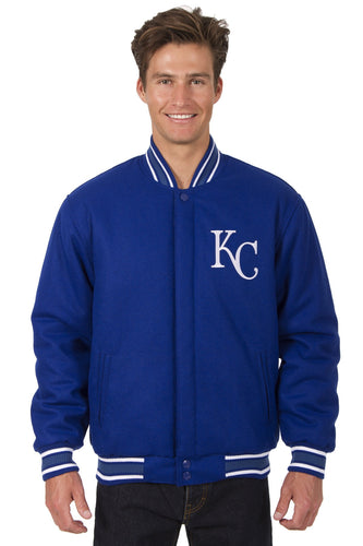 Kansas City Royals MLB Wool Reversible Jacket Featuring a Front Chest Logo Only