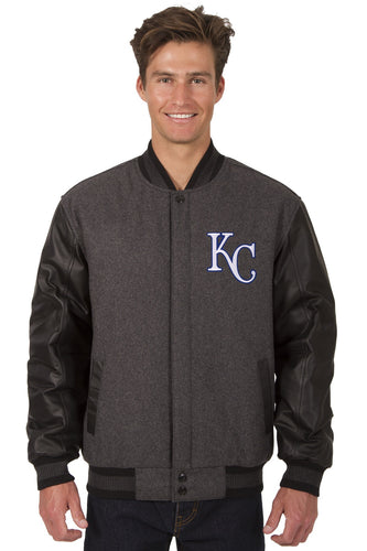 Kansas City Royals MLB Wool & Leather Reversible Jacket Featuring Front Logo