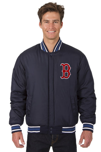 Boston Red Sox Wool Reversible Jacket Featuring Front & Back Logos