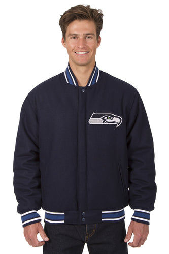 Seattle Seahawks NFL Wool Reversible Jacket Featuring Front & Back Logos