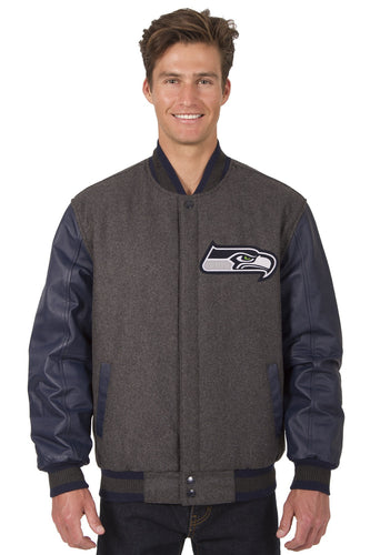 Seattle Seahawks NFL Wool & Leather Reversible Jacket Featuring Front & Back Logos