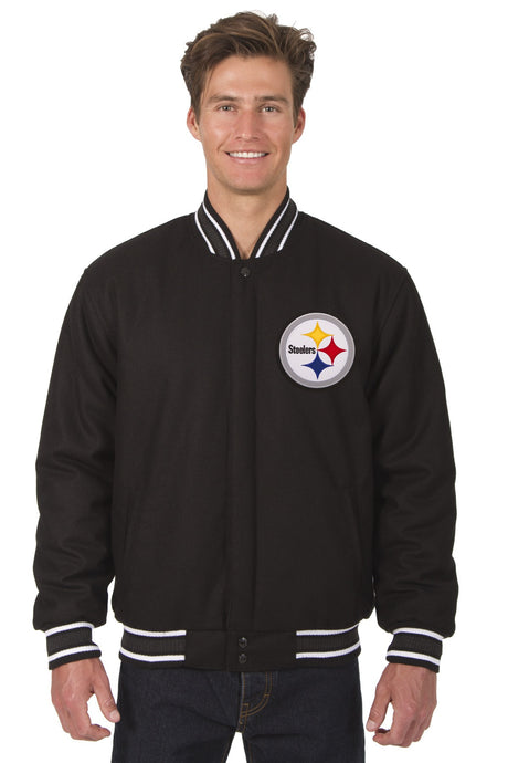 Pittsburgh Steelers NFL Wool Reversible Jacket Featuring Front & Back Logos